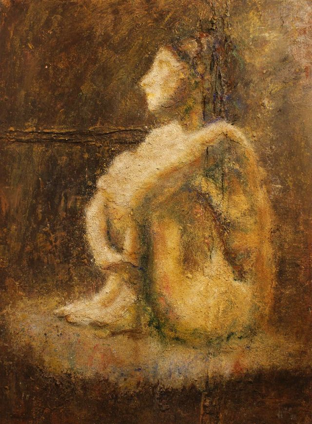 Femme assise - Technique mixte (acrylique, pigments) - 81 x 60 - 2018